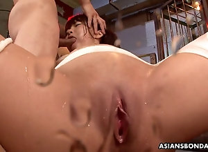 Gorgeous chinese ginger-haired is bandaged plus gangbanged like a slu