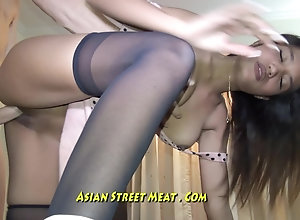 Handcuffed Asian Sells Her Asshole For Chips