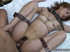 Restrained Asian battle-axe mightily pleases her husband's queasy me