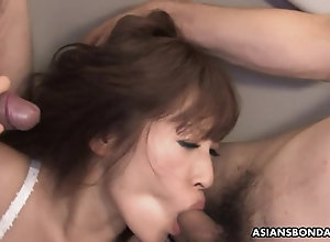 Asian whore in underwear sucks a few pricks before being cag