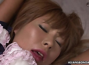 Bunch of kinky dudes playthings restrained Asian hottie's hairy cu