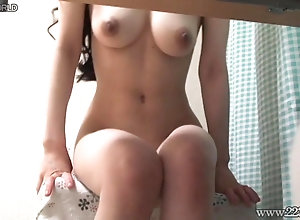 Big natural tits woman sitting on stool by naked.