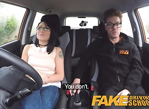 Fake Driving School wild ride for petite brit Asian