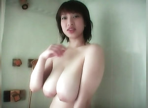 Big Natural tits on Asian in shower