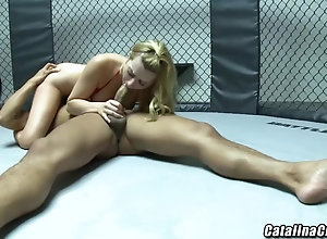 Lexi Belle in bathing suit getting drilled by an mma fighter